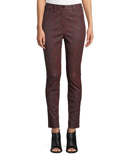 Turner Snake-Print Leather Skinny Pants