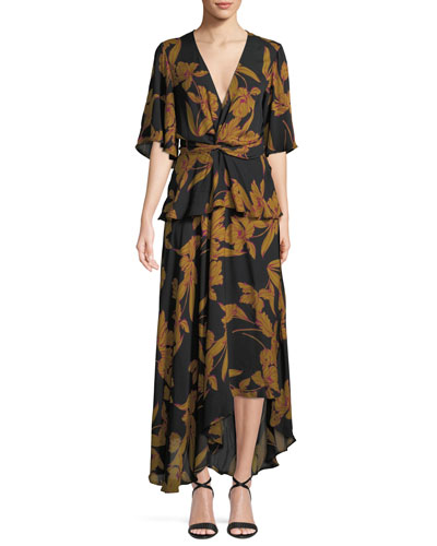 Avi Floral-Print Silk Maxi Dress