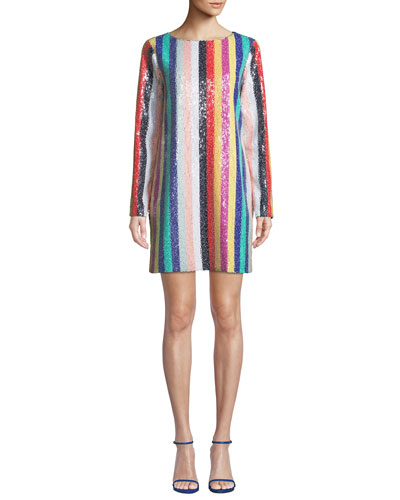 Sequin Rainbow Striped Mini Dress