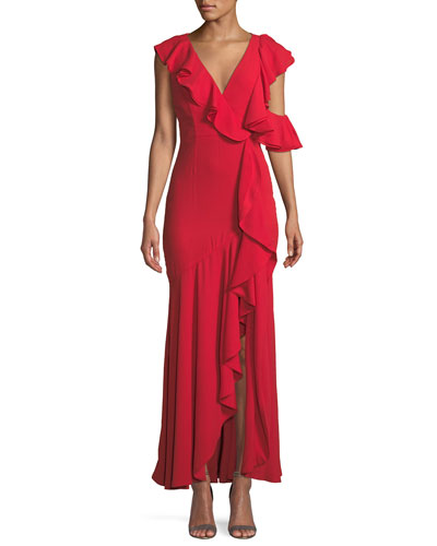 Red V Neck Evening Gown Neiman Marcus