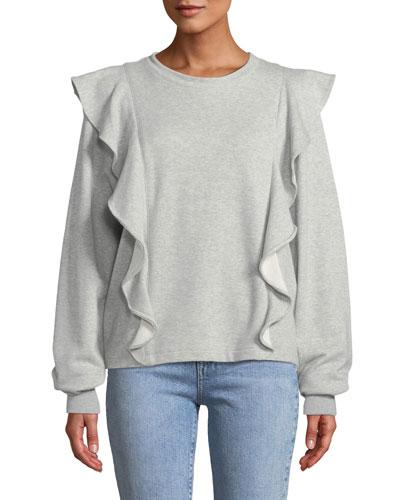 Keller Ruffle Crewneck Pullover Sweatshirt