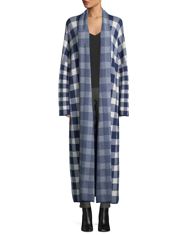 CHRISTIAN WIJNANTS Korda Long Open-Front Check Sweater Coat in White Pattern
