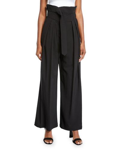 Undone Pleated High-Waist Trousers