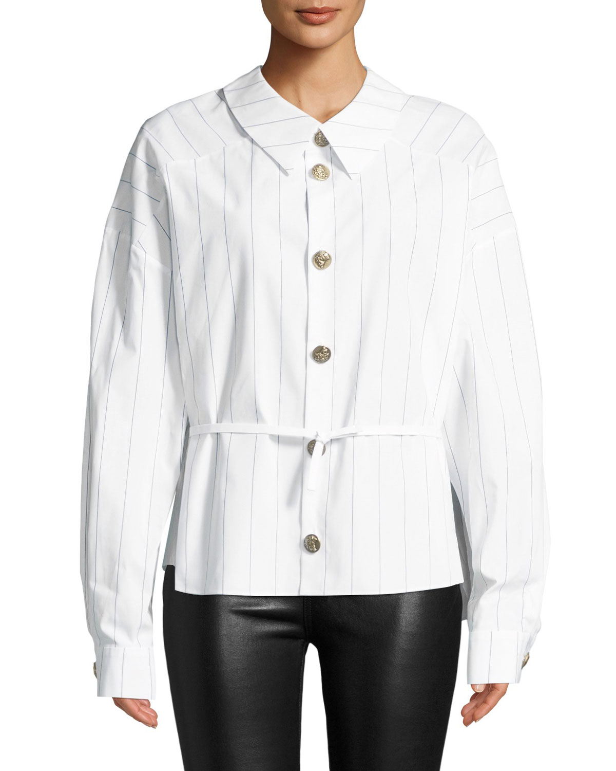 A.W.A.K.E. Back To Front Striped Button-Down Shirt, White