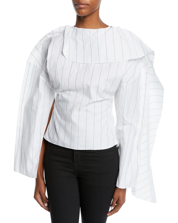 AWAKE Backless Volume-Sleeve Striped Top in White
