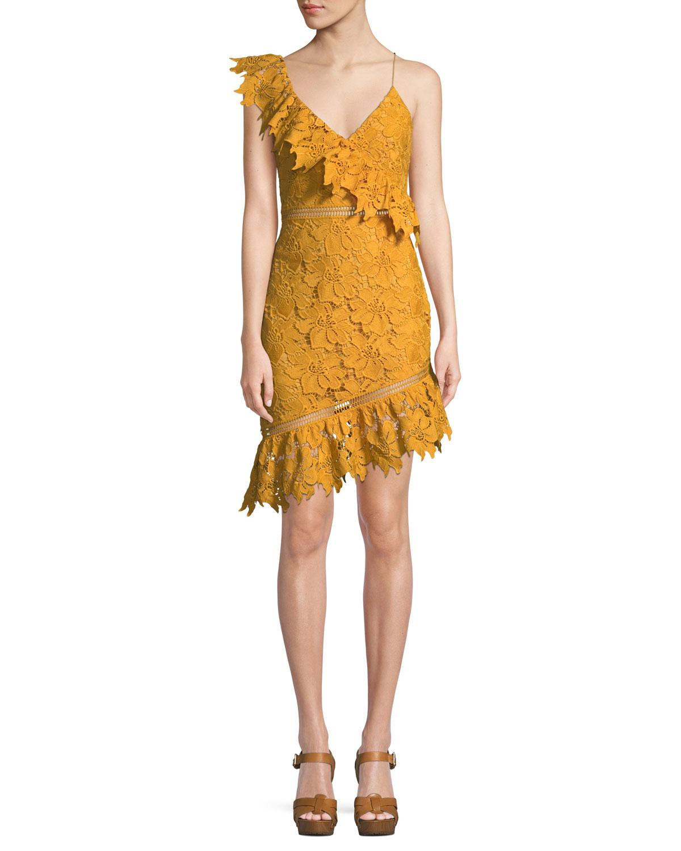Sophia Asymmetric Lace Mini Dress