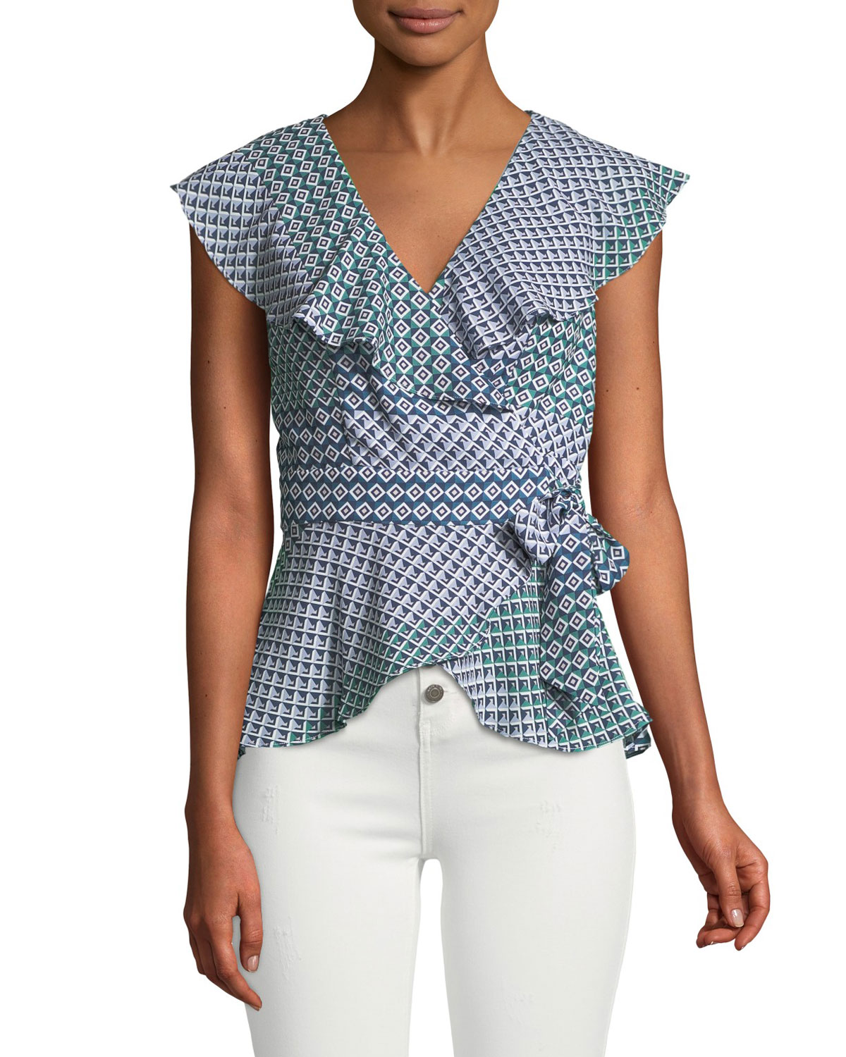 Melinda Geometric Short-Sleeve Wrap Blouse