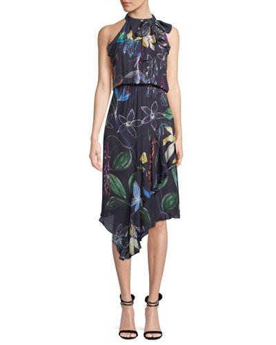 Julieta Sleeveless High-Neck Asymmetric Dress