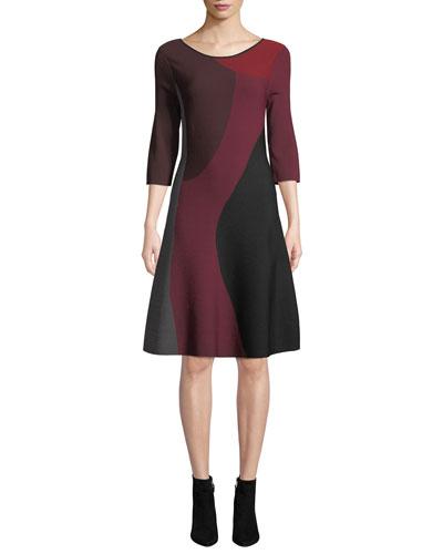 Petite Round-Neck 3/4-Sleeve Colorblock Twirl Dress