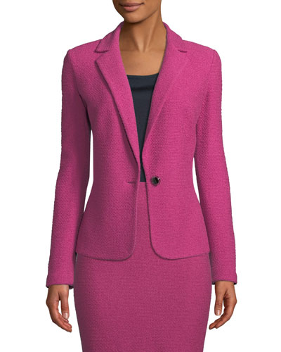 Gracefully Refined Knit One-Button Jacket