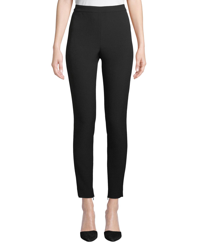 Bella Double-Weave Cropped Leggings w/ Ankle Zippers
