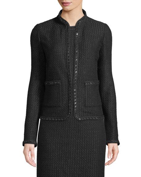 St. John Collection Adina Knit Blazer Jacket with Chain Braid Trim