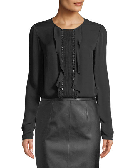 St. John Collection Ruffle-Front Long-Sleeve Silk Georgette Blouse
