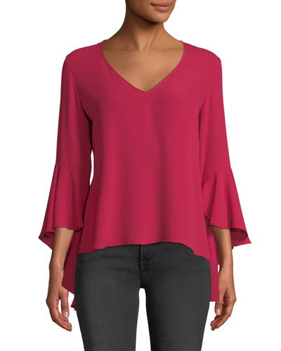 Tatyana Ruffle-Sleeve V-Neck Top