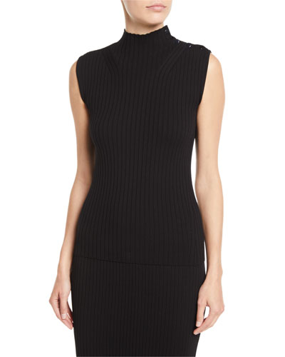 Sleeveless Flat-Rib Mock-Neck Sweater