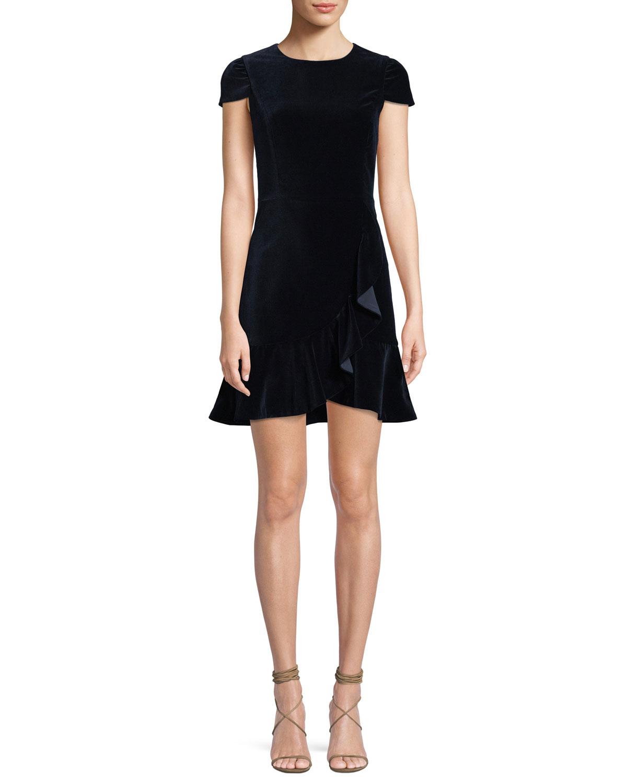 Enid Draped Ruffle Short-Sleeve Cocktail Dress