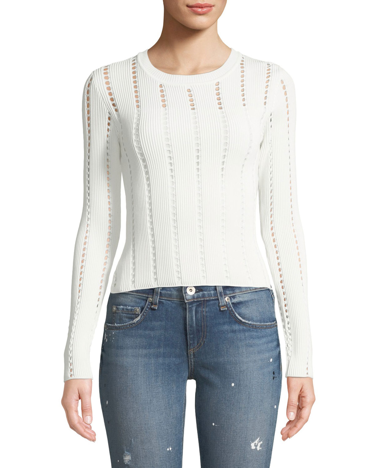 BAILEY44 SIBERIAN POINTELLE KNIT RIBBED SWEATER