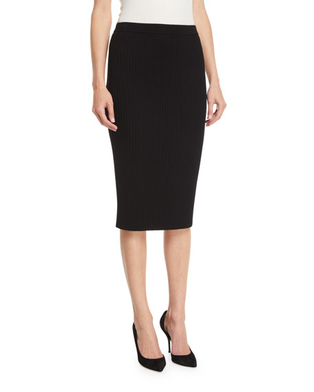 St. John Collection Flat Rib-Knit Pull-On Knee-Length Skirt