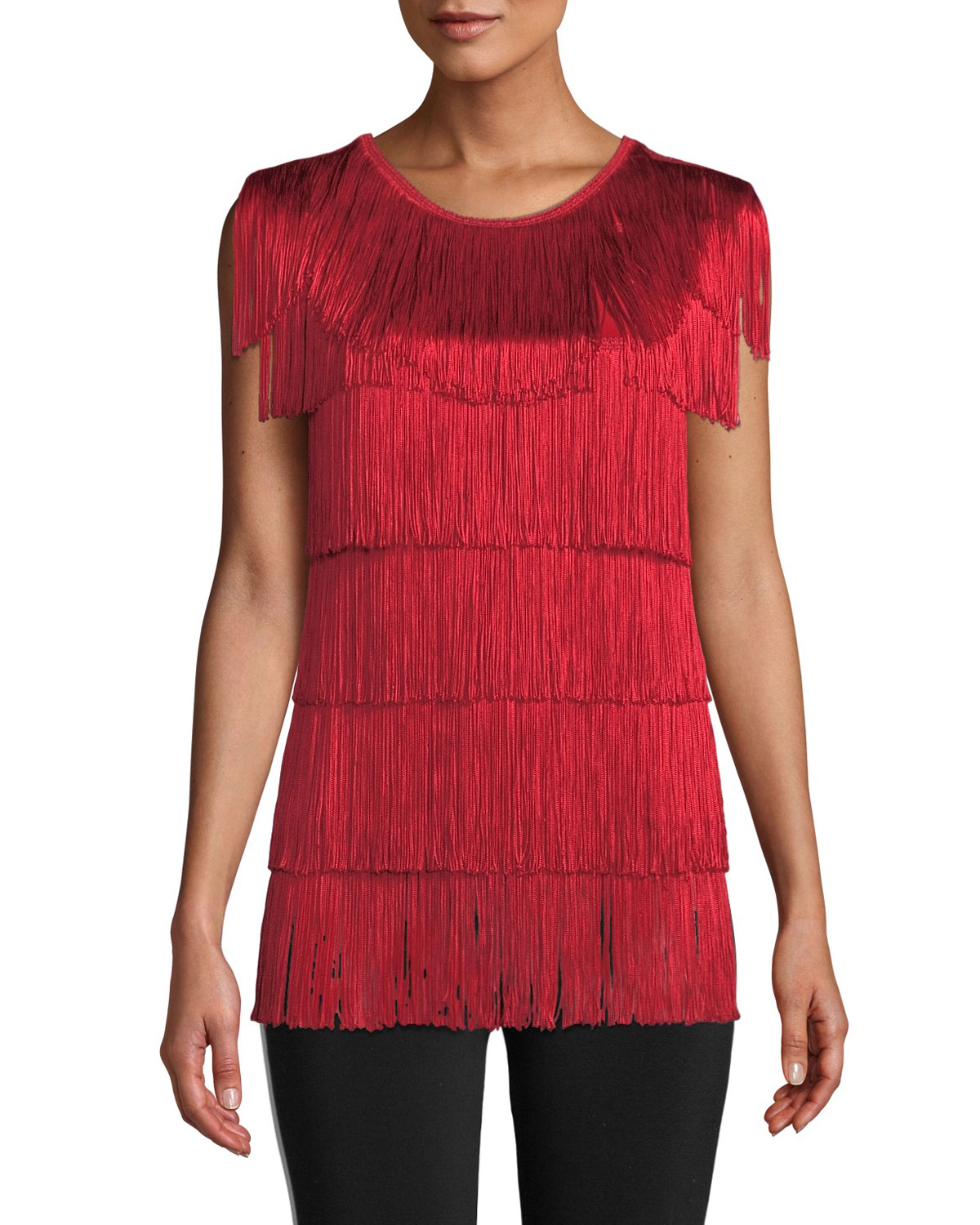 Sleeveless Crewneck Fringe Tee