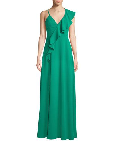 Silky Crepe Asymmetric Ruffle Gown