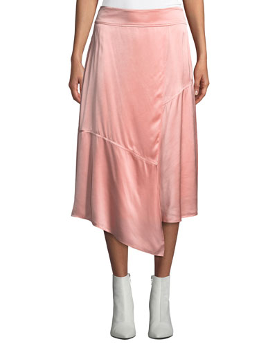 Draped Asymmetric Satin Midi Skirt