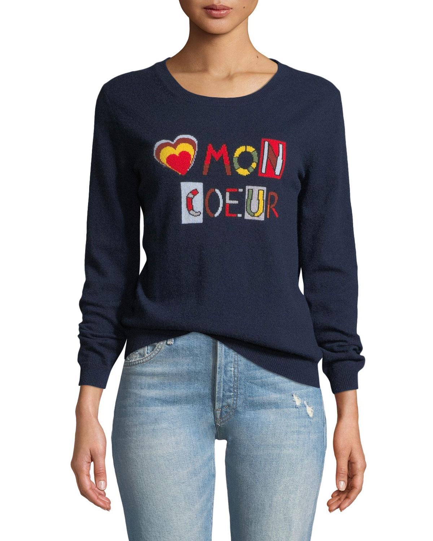Mon Coeur Cashmere Intarsia Pullover Sweater