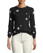 Chinti And Parker Star Cashmere Intarsia Crewneck Sweater