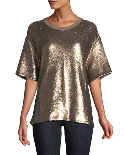 Lorena Crewneck Short-Sleeve Sequin Tee