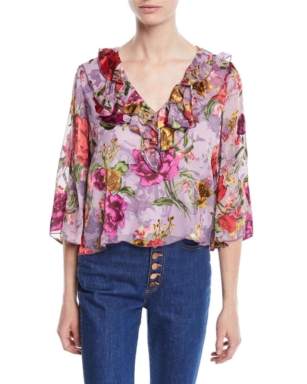 Cabella V-Neck Ruffle Floral-Print Top