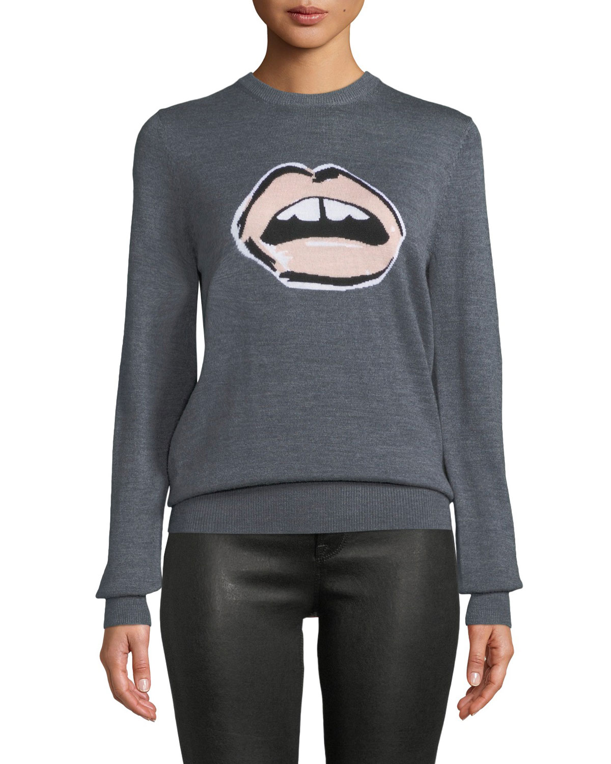 Mia Painted Lip Intarsia Wool Pullover Sweater