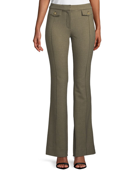 Derek Lam 10 Crosby Check Flare-Leg Trousers with Flap Details