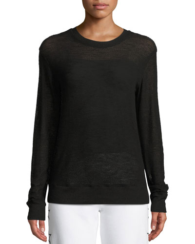 Mesh Crewneck Pullover Sweatshirt
