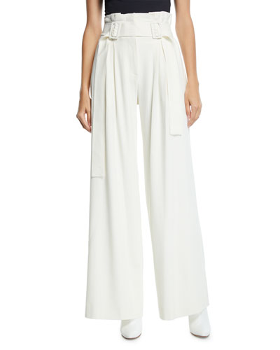 Pleated Wide-Leg High-Rise Pants