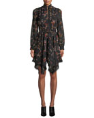 Derek Lam 10 Crosby High-Neck Printed Silk Long-Sleeve