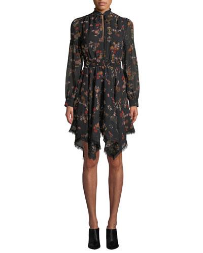 High-Neck Printed Silk Long-Sleeve Handkerchief Dress