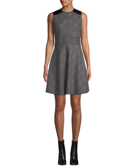 Derek Lam 10 Crosby Sleeveless Check Fit & Flare Short Dress with Corset Detail