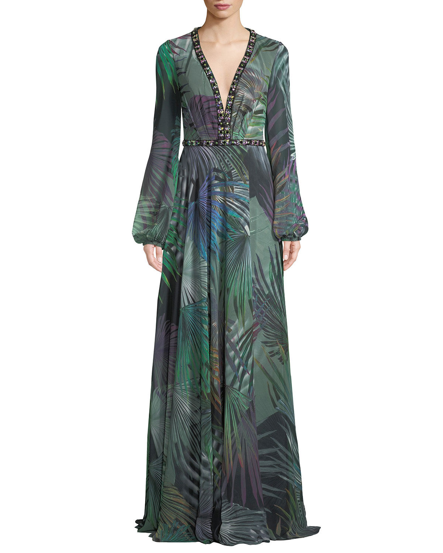 Long-Sleeve Chiffon Gown in Palm-Leaf Print