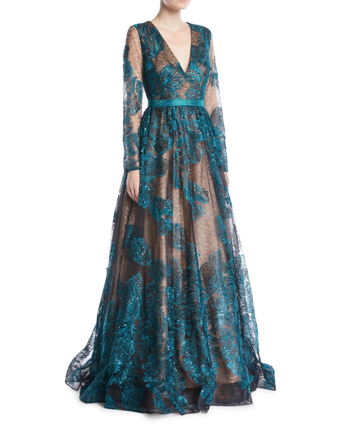 Long-Sleeve Deep-V Sequined Lace Evening Gown