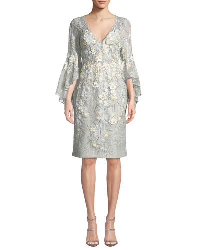 Trumpet-Sleeve Sheath Dress w/ Floral Embroidery