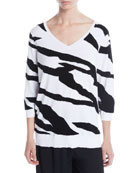 Joan Vass 3/4-Sleeve Zebra Pullover Sweater