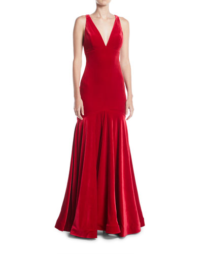 Quick Look. Jovani · Deep V-Neck Open-Back Velvet Trumpet Gown. Available  in Red 8f6d6b519