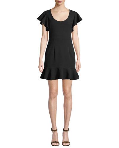 Lynn Flouncy Scoop-Neck Mini Dress