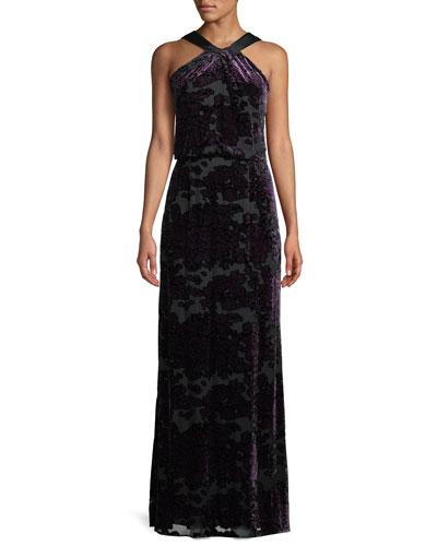 Burnout Velvet Halter Gown