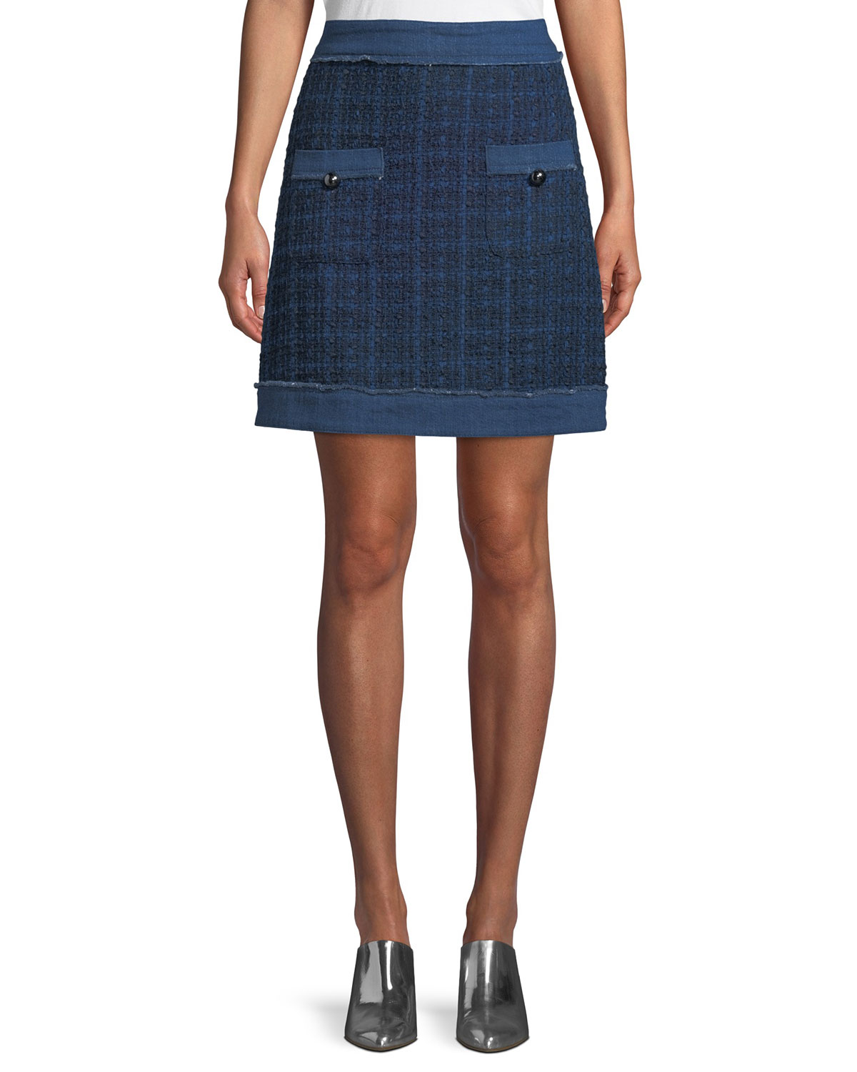 denim tweed mini skirt