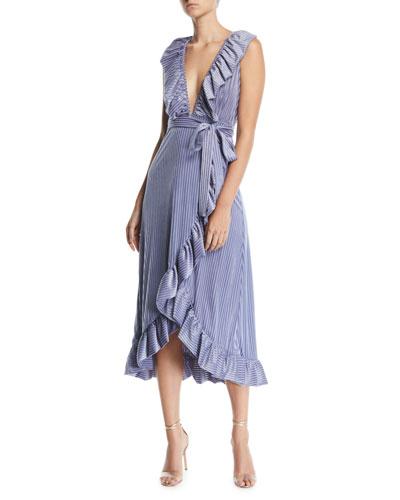 Eve Pinstripe Velvet Ruffle Wrap Dress