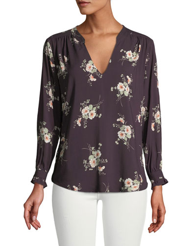 Jazzy Floral-Print V-Neck Top