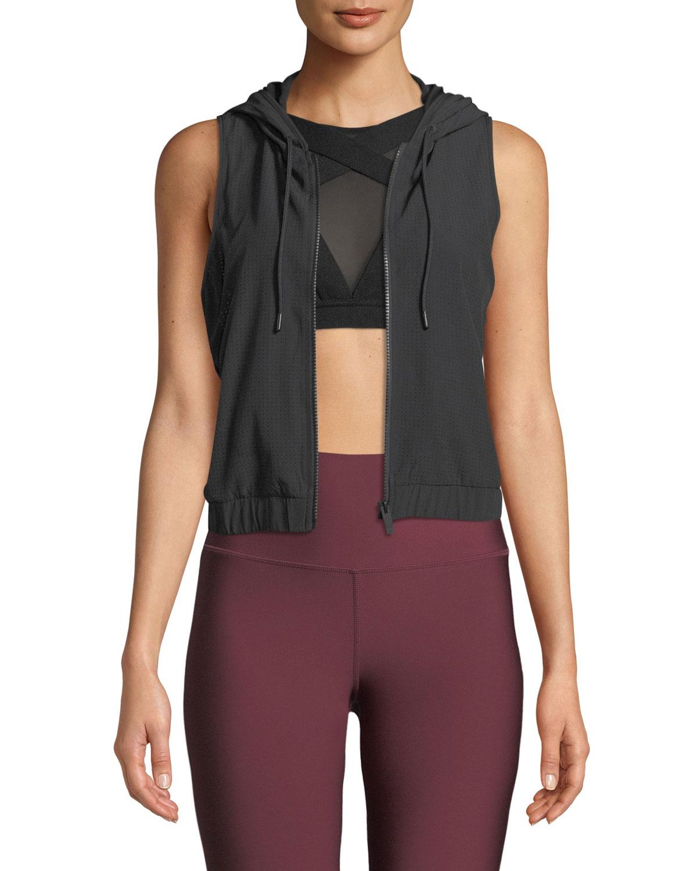 ALO YOGA Frame Hooded Mesh Activewear Vest in Black