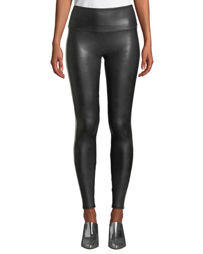 Faux-Leather Side-Stripe Leggings
