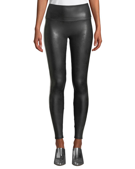 Spanx Faux-Leather Side-Stripe Leggings
