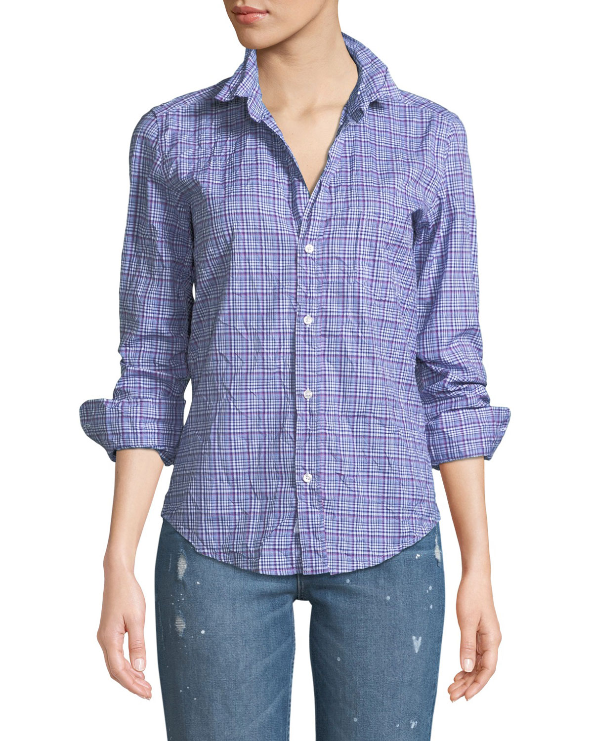 Barry Long-Sleeve Button-Front Plaid Top